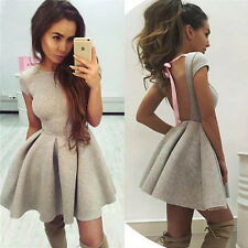 Womens Sexy Backless Clubwear Pleated Bodycon Cocktail Party Evening Tunic Dress