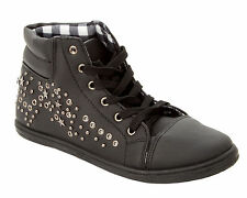 WOMENS BLACK STUDDED LACE UP HI HIGH TOP TRAINERS PUMPS SHOES LADIES UK SIZE 3-8
