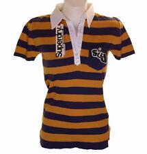 New Women's Superdry Knitted Striped Polo Shirt Blouse Top Purple Orange