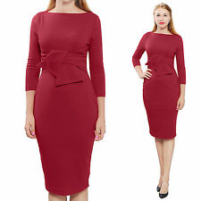 RED ELEGANT WIGGLE MIDI DRESS VINTAGE RETRO 1950S EVENING WORK OFFICE DRESSES