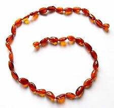 Genuine Baltic amber necklace 46 cm, cognac beans beads, adults amber jewellery