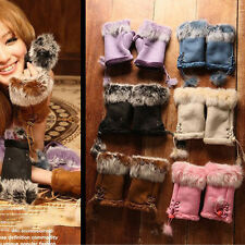 Winter Women Lady Faux Suede Rabbit Fur Mitten Hand Wrist Cape Fingerless Gloves