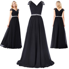 Cap Sleeve V Neck Chiffon Evening Gown Prom Party Cocktail Bridemaid Long Dress