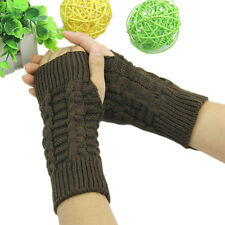 Cool Women Winter Wrist Arm Hand Warmer Knitted Long Fingerless Gloves Mitten