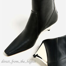 ZARA *BLACK* LAMINATED LEATHER HIGH HEEL ANKLE BOOTS SIZES 6_8  Ref 5120/101