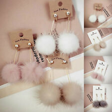 Womens Rhinestone Long Dangle Earrings White Fur Drop Ball Earrings Ear Jewelry
