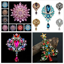 Large Fashion Flower Drop Pendant Crystal Wedding Grace Lady Rhinestone Brooch +