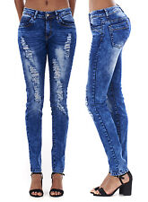 LADIES RIPPED JEANS FADED ACID WASH DISTRESSED SLIM FIT LADIES SKINNY DENIM 8-16