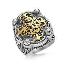 Oval Filigree Ring Sterling Silver and 18K Yellow Gold