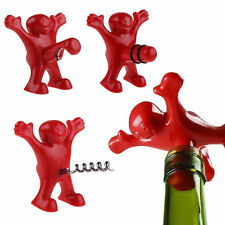 New Bar Red Happy Man Soda Wine Bottle Novelty Opener Stopper Corkscrew Freeship