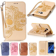 Skull Patterned Flip Wallet Leather Case With Card Holder For LG iPhone Huawei