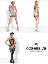 OBSESSIVE G300 Luxury Super Soft Decorative Patterned Bodystocking