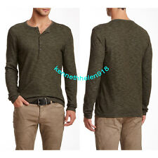 NWT JOHN VARVATOS STAR USA MENS LONG SLEEVE HENLEY ARMY SIZE LARGE