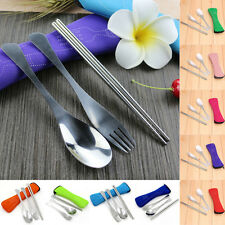 Portable Travel Cutlery Bag Stainless Steel Chopstick Fork Spoon Camping Picnic
