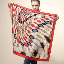 "Women's Red Silk-Satin Square Scarf with Euro Fashion Printed Big Shawl 35""*35"""