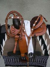 "14"" NEW ALL LEATHER TAN WESTERN PLEASURE  TRAIL SADDLE PACKAGE CONCHO SET"