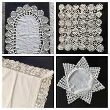 4 ANTIQUE/Vintage IRISH Linen~Crocheted LACE~Table~Topper~Runner~STAR~Square