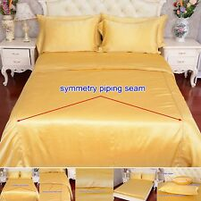 19 Momme 100% Pure Silk Duvet Quilt Cover Sheets Pillow Cases Seamed Gold