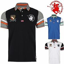 Santa Monica Mens Polo Albany Short Sleeve Button Striped Collared T Shirt Top