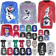 Womens Ladies Olaf Frozen Knitted Novelty Rudolph Christmas Sweater Jumper Top