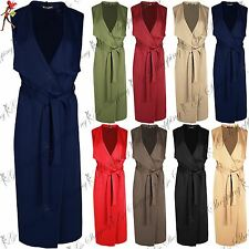 Ladies Open Front Crepe Belted Waterfall Midi Length Duster Womens Cape Cardigan