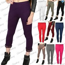 Womens 3/4 Length Lace Trim Cropped Ladies Fitted Jog Trousers Jeggings Leggings