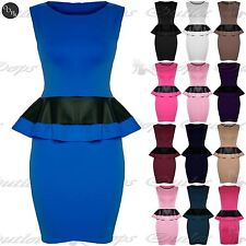 Womens Ladies Plus Size Peplum Frill Bodycon Sleeveless PVC Leather Mini Dress