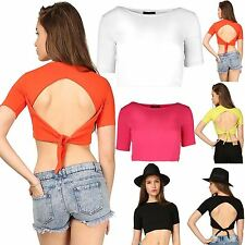 Womens Crepe Hi Neck Top Tee Ladies Short Sleeve Wrap Over Back Tie Crop Vest