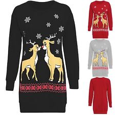 Womens Ladies Christmas Two Reindeer Sweatshirt Jumper Long Dress Top Plus Size