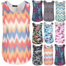 New Ladies Womens Army Camouflage Leopard Print Sleeveless Casual Vest Top 8-14