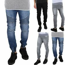Seven Series Mens Cuffed Hem Elasticated Waist Stretch Biker Jog Bottoms Jeans