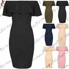 Womens Off Shoulder Bardot Ladies Peplum Frill Pencil Bodycon Split Midi Dresses