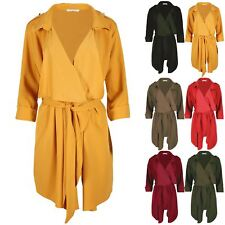 Womens Ladies Baggy Oversized Shoulder Strap Belted Waterfall Cape Cardigan Top