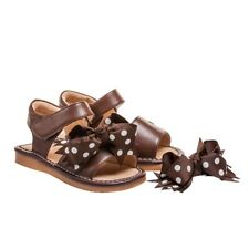 Girl's Squeaky Leather Clip On Brown Toddler Sandals