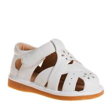 Girl's Closed Toe White Leather Squeaky Toddler Sandals
