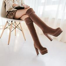 Womens Cuffed Pull On Platform Over the Knee Leisure Chunky High Heels Hot Boots