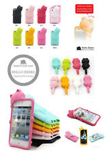 Cute Cat Rubber Silicone case skin cover with dust plug for ipod touch 4 Gen