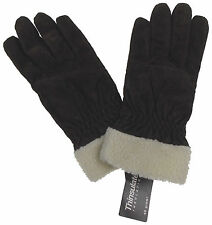 Jaclyn Smith Leather Suede Gloves 3M Thinsulate Lined Dark Brown Winter Driving