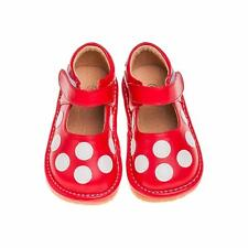 Girl's Red with White Polka Dots Leather Toddler Squeaky Shoes Sizes 1-7