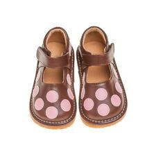 Girl's Brown with Pink Polka Dots Leather Toddler Squeaky Shoes Sizes 1 to 7