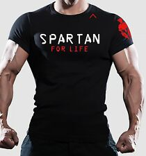 Men SPARTAN for life RACE black training bodybuilding t shirt GYM dri fit