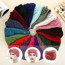 Ear Warmer Flower Headwrap Knitting Yarn Headband Knit Hairband Hair Band Button