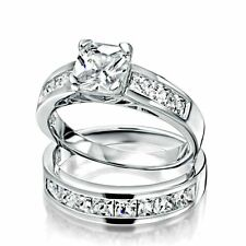 .925 Sterling Silver wedding set CZ Princess cut Engagement Ring size 4-11 New