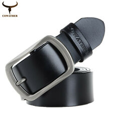 Cowskin Leather Belt for Men Dress Casual Waist Belt Pin Buckle Designer Belt