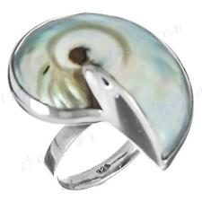 """1 1/8"""" IRIDESCENT BLUE NAUTILUS 925 STERLING SILVER US 6,7,8,9 ADJUSTABLE ring"""