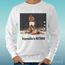 "MEN'S SWEATSHIRT LIGHT SWEATER WHITE "" MUHAMMAD WINGS NOTHING IS IMPOSSIBLE """