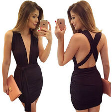 Sexy Deep V-neck Bodycon Party Evening Cocktail Halter Backless Short Mini Dress