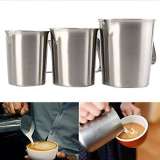 Stainless Steel Liquid Measuring Cup Spout Coffee Milk Mug Frothing Latte New