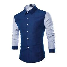 Men Shirt  Long Sleeve Turn Down Collar Dot Pattern Fashion Shirt Men