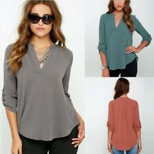 Women V-neck Chiffon Blouse Casual Sleeve Solid Shirts Tops